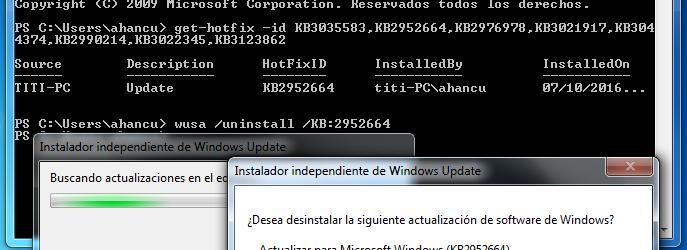quitando de nuevo KB2952664