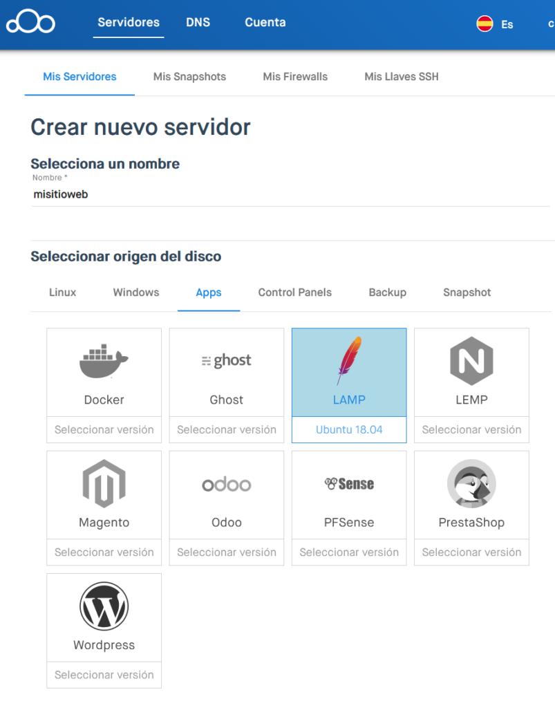 Crear nuevo serviodr en Clouding.io