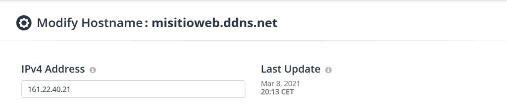 Creación de registro DNS
