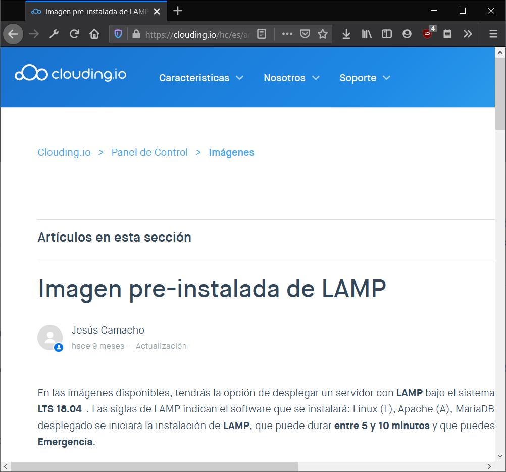 Imagen pre-instalada de LAMP