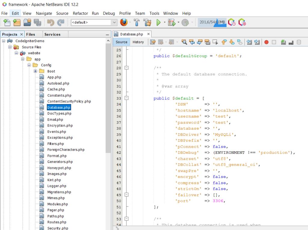 Configuración de base de datos en CodeIgniter