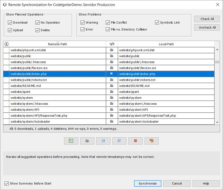 Diálogo de sincronización de ficheros